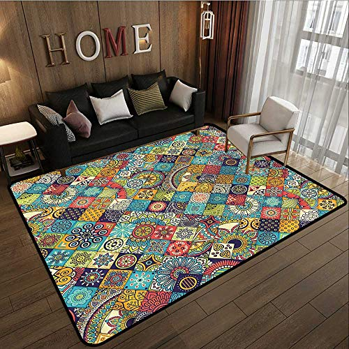 Kids Rug Bohemian Checkered Folk Ideal Gift for Children 4'7