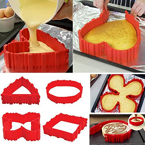 Nonstick 4PCS Silicone Cake Mold Cake Pan Magic Bake Snake DIY Baking Mould Tools, Design Your Cakes Any Shape, Heart Butterfly Round ()