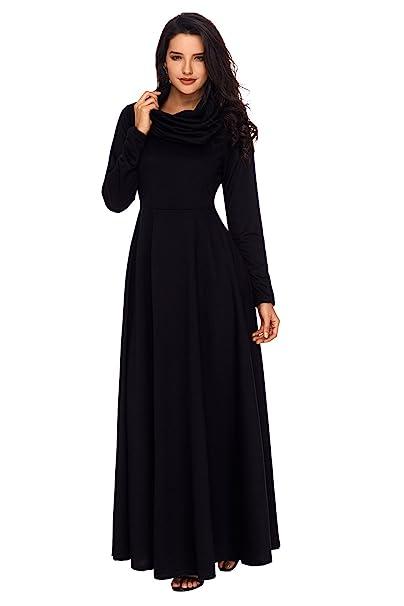 aa0e461a530d JooMeryer Women's Long Sleeve Cowl Neck Casual Loose Long Maxi Dress,Black,S