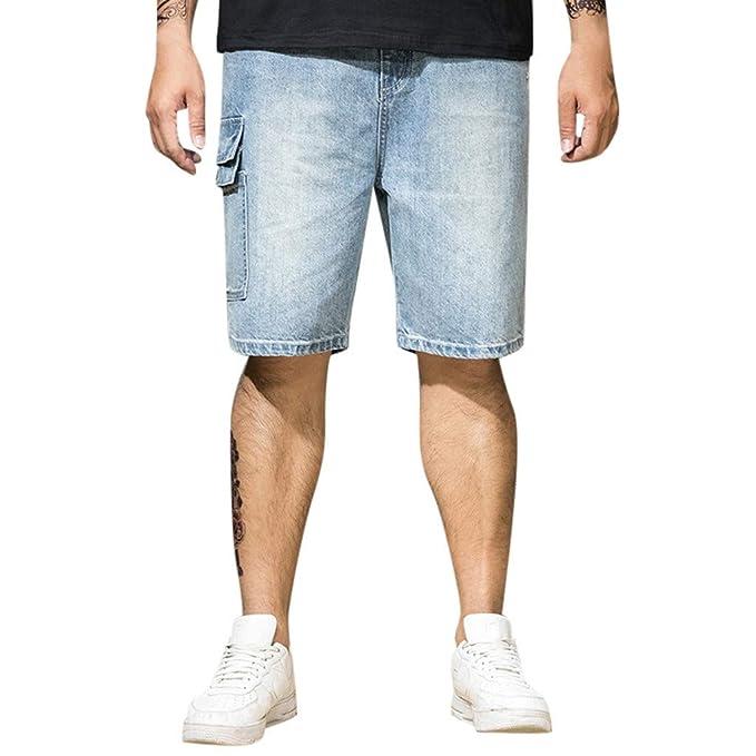 Hombres Pantalones Cortos de Mezclilla Verano Pantalones ...
