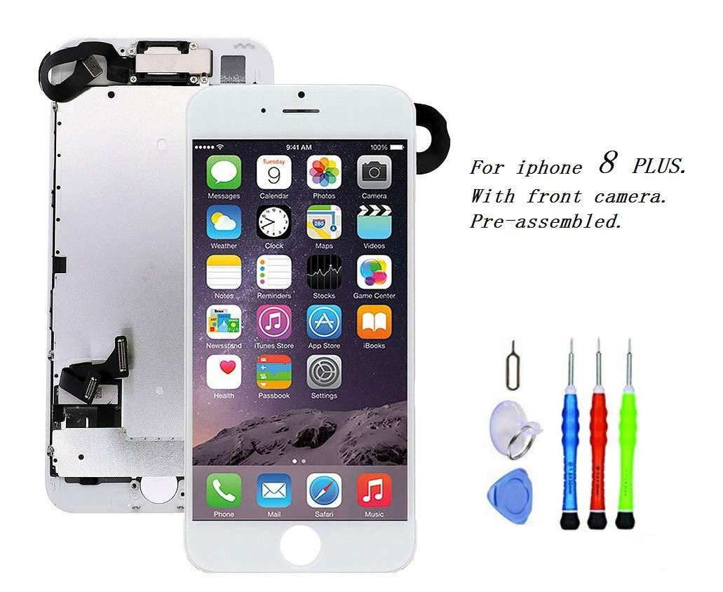Premium Screen Replacement Compatible with iPhone 8 Plus 5.5 inch Full Assembly - LCD 3D Touch Display digitizer with Front Camera, Ear Speaker and Sensors, Compatible with All iPhone 8 Plus(White) by XLSBZ