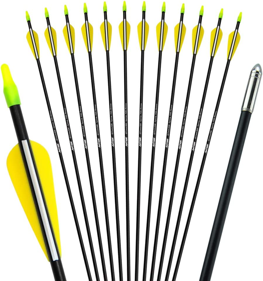 Mosogos Archery 28 Fiberglass Target Arrows Practice Arrows Recurve Bow Arrows for Youth Woman or Beginner