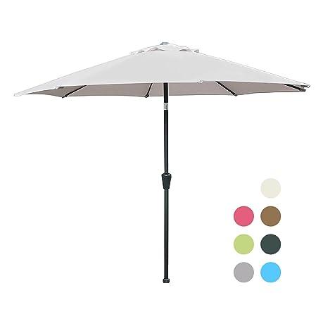 Blissun 9u0027 Patio Umbrella Aluminum Manual Push Button Tilt And Crank Garden  Parasol, 8