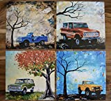 1960's to 1970's Ford Broncos, artist signed prints, Set of 4 , Ford, Bronco, vintage, truck, fathers day, gift, christmas, present, men, man, print