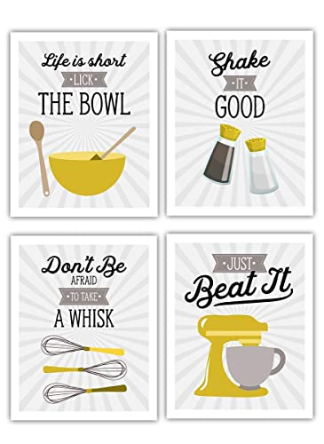 Amazon Com Retro Vintage Kitchen Wall Art Prints Mustard Yellow Gold Gray White Set Of 4 8x10 Unframed Kitchen Utensil Prints Perfect For Rustic Modern Farmhouse Country Decor Handmade