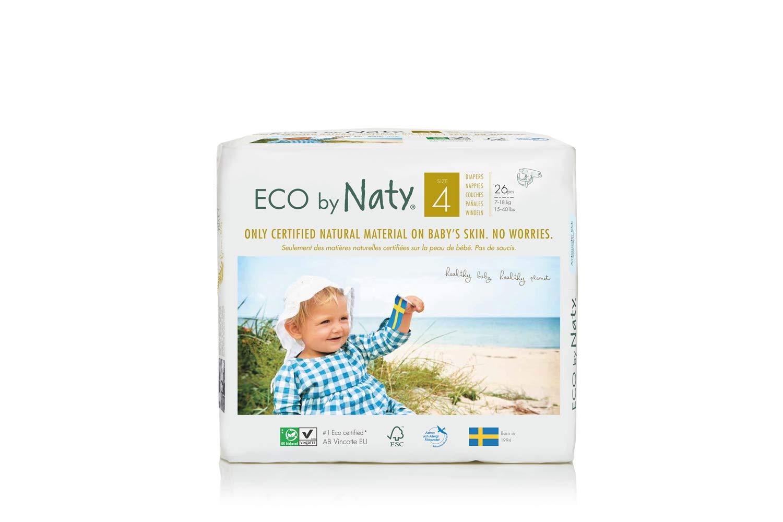 Pañales desechables Eco by Naty Premium para piel sensible, tamaño 4, 7 - 18 kg, 6 paquetes de 26 (156 unidades): Amazon.es: Salud y cuidado personal