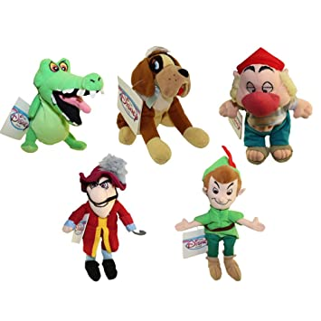 Hard To Find Disney Peter Pan Bean Bag Complete Set With Captain Hook