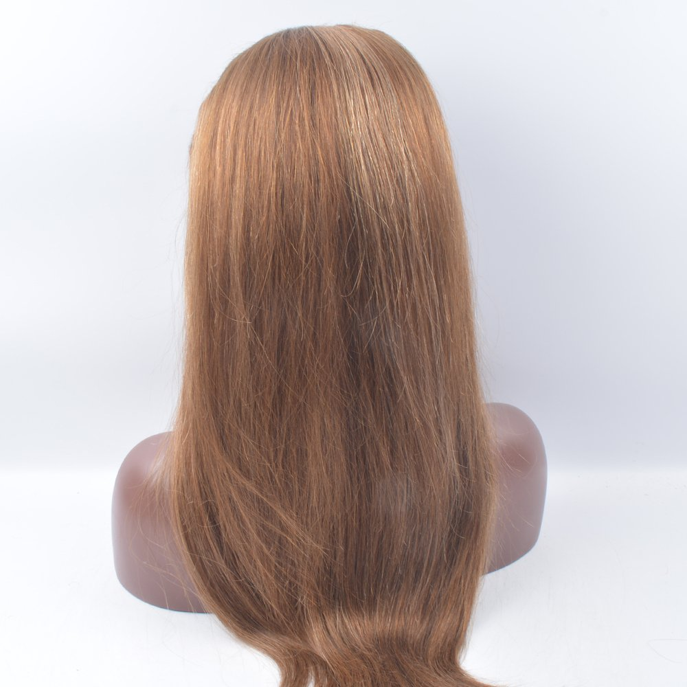 OrderWigsOnline 18 inch Straight 6/27# Lace Front Wigs Top Grade Unprocessed Brazilian Virgin Remy Hair 130% Density for American African