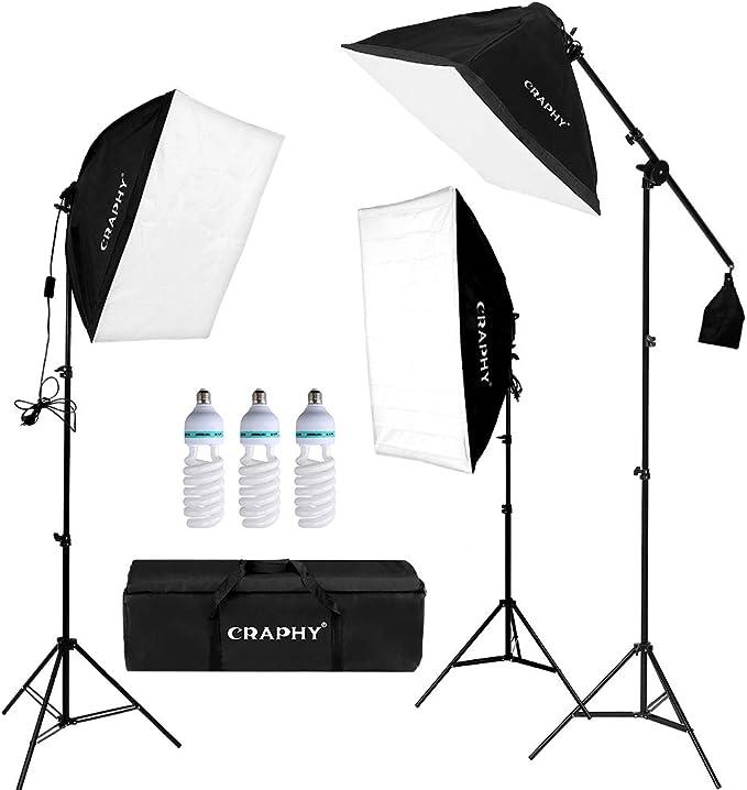 CRAPHY Kit de Iluminacion para Estudio Fotografia, 3 Lámpara Fotografia 135W, 3 Ventana de Luz 50x67cm, 3 Tripodes de Luz, 1 Bolsa de Transporte: Amazon.es: Electrónica