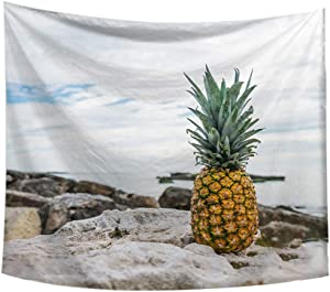 Kalmstore Pineapple Print Tapestry Wall Hanging Tapestry Art Room Home Decor Beach Landscape Tapestry for Bedroom Dorm Decor (Pineapple A, 59'' x 79'')