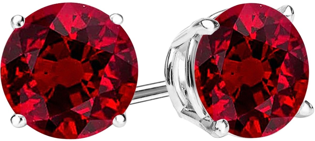 1 Carat Total Weight Ruby Solitaire Stud Earrings Pair 14K White Gold Popular Premium Collection 4 Prong Push Back by Houston Diamond District