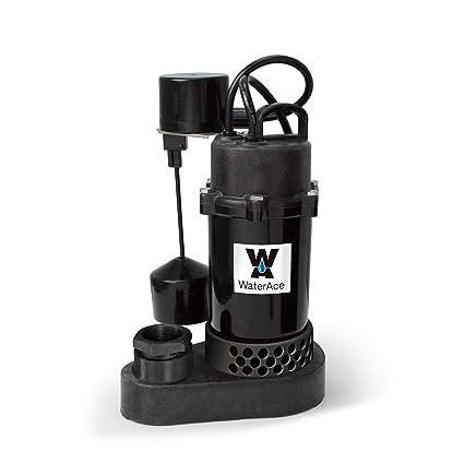 WaterAce WA50PSV Sump Pump, 1/2 HP, Black