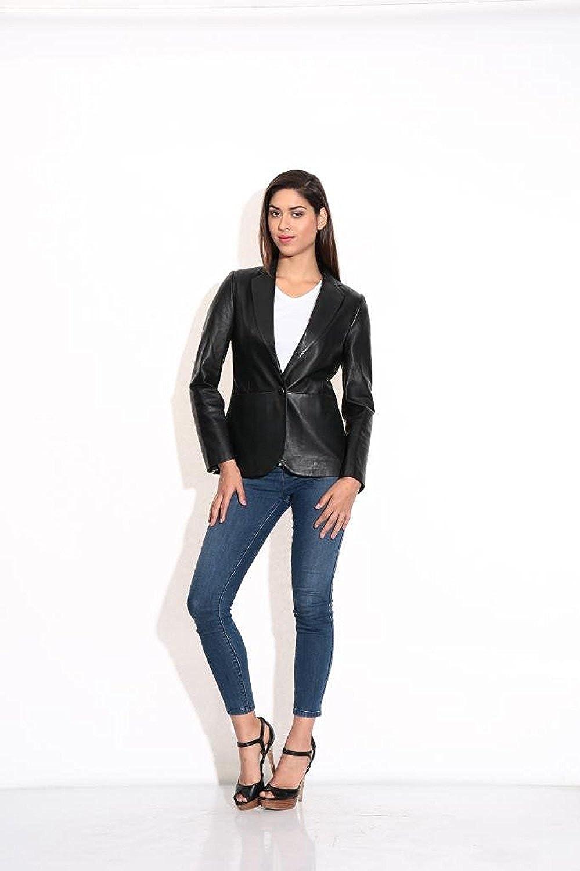 SID Womens Black Blazer Lamskin Leather Jacket Blazer Jacket