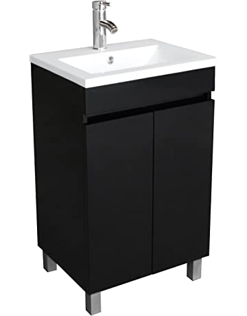 312b98caa1c BATHJOY 20 Inch Black Single Wood Bathroom Vanity Cabinet with Undermount Vessel  Sink Faucet Drain Combo
