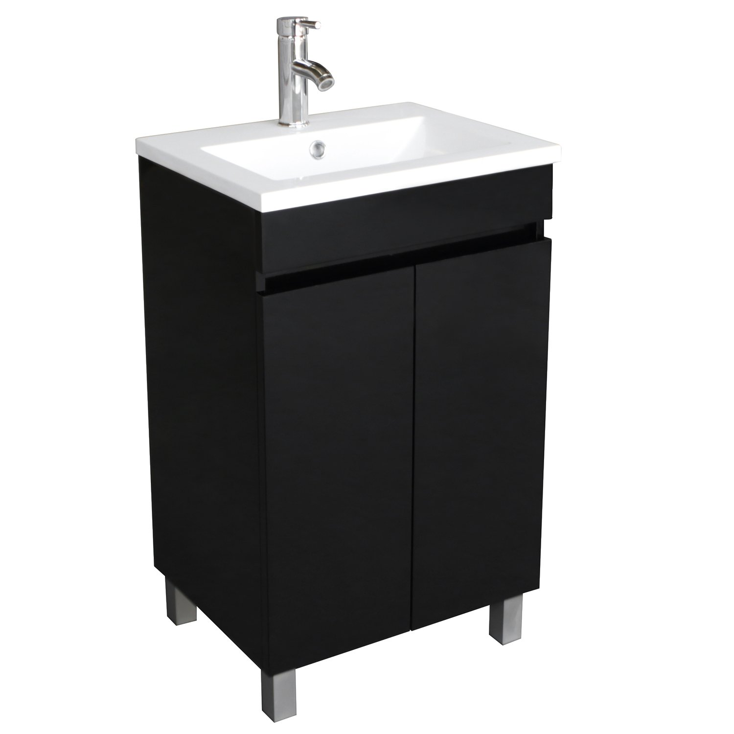 BATHJOY 20 Inch Black Single Wood Bathroom Vanity Cabinet with ...