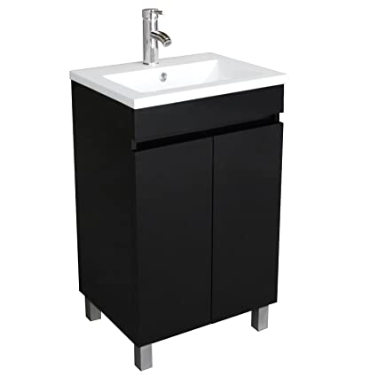 BATHJOY 20 Inch Black Single Wood Bathroom Vanity Cabinet With Undermount  Vessel Sink Faucet Drain Combo