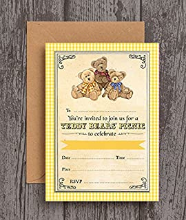 teddy bears picnic party invitations amazon co uk toys games