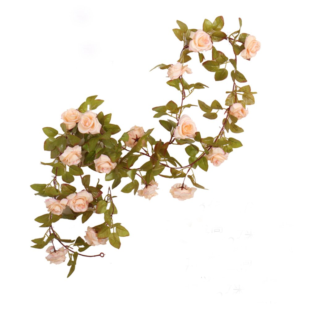 Li Hua Cat Rose Garland Artificial Rose Vine with Green Leaves 63 Inch Pack of 3 Flower Garland For Home Wedding Decoration (17rose-apricot)