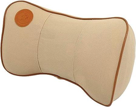 X AUTOHAUX Car Vehicle Seat Lumbar Support Cushion and Headrest Neck Pillow Set Memory Foam Beige