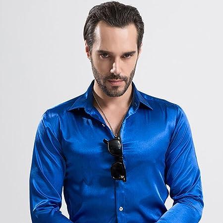 Camisa Formales Ropa de Negocios Simulación Seda Casual Casual de Manga Larga for Hombres (Color : Blue, Size : 44): Amazon.es: Hogar