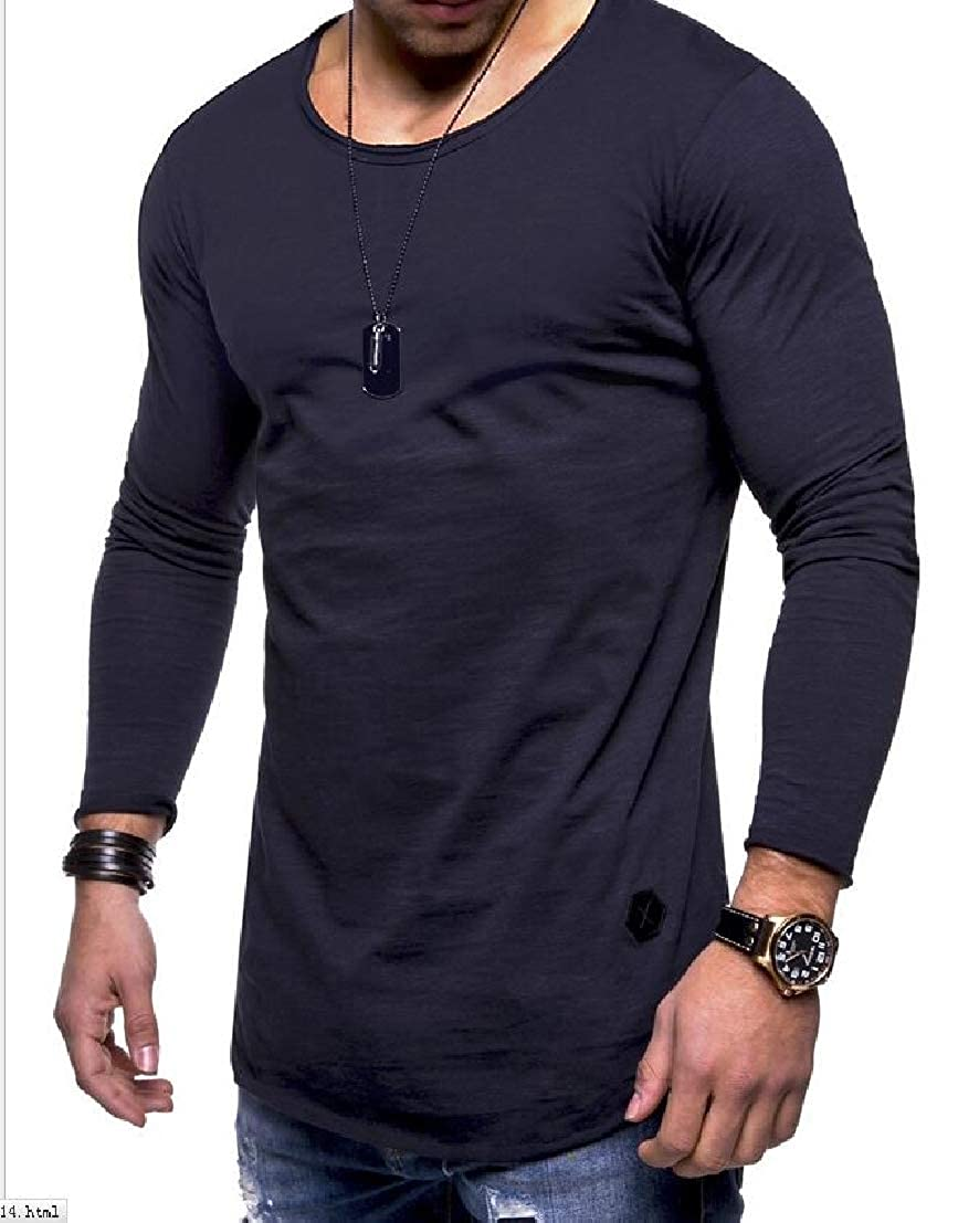 UUYUK Men Long Sleeve Round Neck Slim Longline Solid Color Tee T-Shirts
