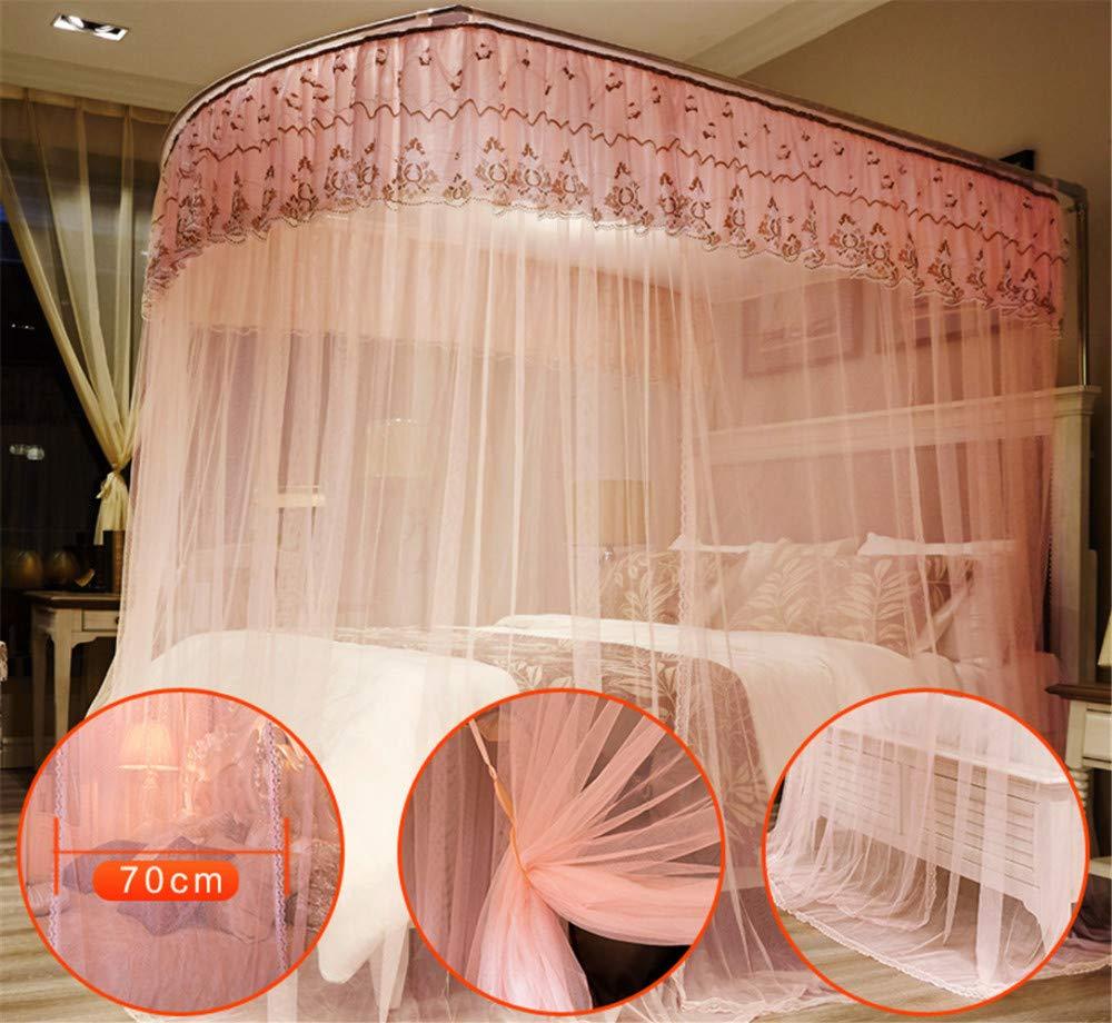 U-Type Retractable Bracket Mosquito net Double Bed Mosquito net Princess Mosquito net Three Door Thick Yarn Thickening Mosquito net Luxury Mosquito net, Pink, L (87-210Adjustment) W150cm by RFVBNM Mosquito net (Image #3)