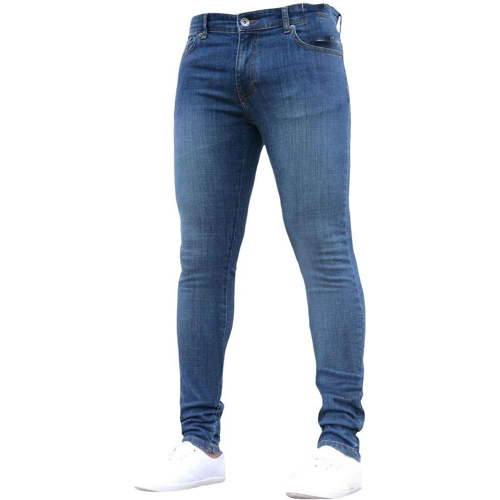 F_Gotal Men's Casual Slim Fit Fashion Denim Jeans Skinny Hip Hop Zipper Pants Jeans for Teen Boys Dark Blue by F_Gotal Mens Pants