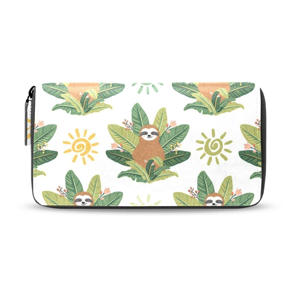 Womens Wallets Sloth Tropical Leaves Leather Long Clutch Purse Handbag