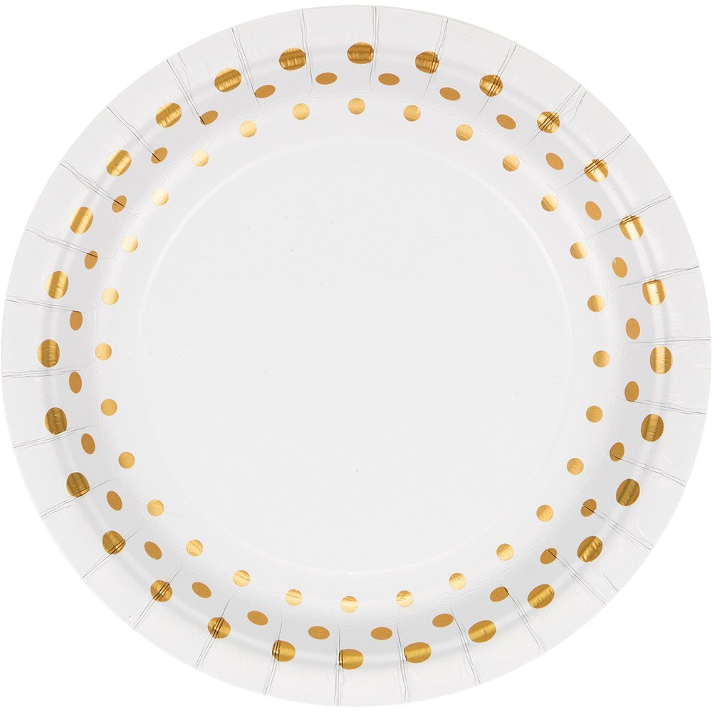 Glitter Silverware /& Hot//Cold Cups for 24 Guests Gold Polka Dot Party Supply Pack for 24 Guests Bundle Includes Elegant Metallic Foil Paper Plates and Napkins