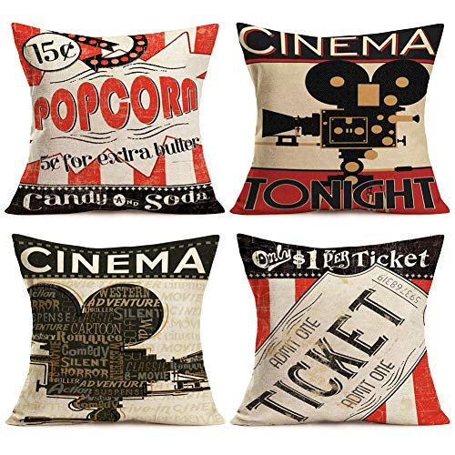 Aremetop Movie Theater Throw Pillow Covers Cinema Tonight Quotes Personalized Cushion Cover with Popcorn Drink,Film Projector,Ticket Pattern Home Decorative Cotton Linen Pillowcases 18X18 Inch,4 Pack -