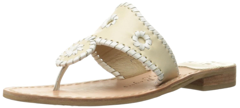 Jack Rogers Women's Palm Beach Wide Dress Sandal B00JBK3YWQ 11 W US|Bone/White