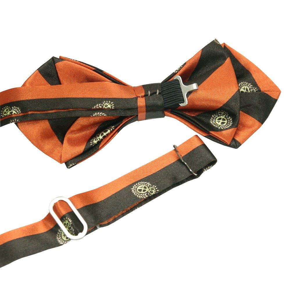 ST34 New Silk feel SATIN Orange Brown Stripes Neck tie Mens Bow tie BB-1332