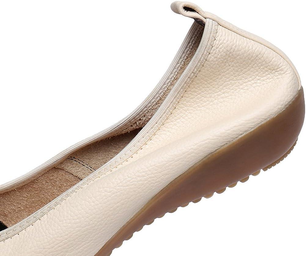 Jamron Mujer Piel Genuina Comodidad Zapatos Suela Blanda Bailarinas Tal/ón de Cu/ña Baja Pantuflas