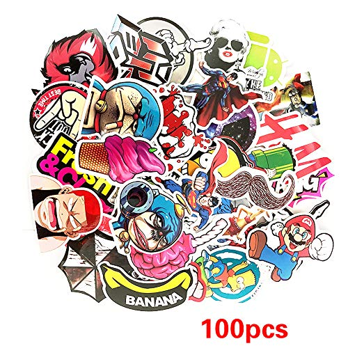 World Map Series Stickers Pack 100-Pcs,Cool Sticker Decals Vinyls for Laptop,Kids,Cars,Motorcycle,Bicycle,Skateboard Luggage,Bumper Stickers Hippie Decals Waterproof (A03) ()