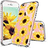 iPhone 6s Case, iPhone 6 Case for Women, MOSNOVO Floral Flower Sunflower Pattern Clear Design Transparent Plastic Hard Back Case with TPU Bumper Protective Case Cover for iPhone 6 6s (4.7 Inch)
