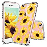iPhone 6s Plus Case, iPhone 6 Plus Case for Women, MOSNOVO Floral Flower Sunflower Pattern Clear Design Plastic Hard Case with TPU Bumper Protective Case Cover for iPhone 6 Plus 6s Plus (5.5 Inch)