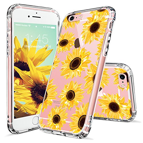 Sunflower Protective Case (iPhone 6s Plus Case, iPhone 6 Plus Case for Women, MOSNOVO Floral Flower Sunflower Pattern Clear Design Plastic Hard Case with TPU Bumper Protective Case Cover for iPhone 6 Plus 6s Plus (5.5 Inch))