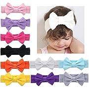 DANMY Baby Girl's Kink Soft Headband Cotton Elastic Hair Band Big Spiral Knot Soft Turban Bow (Bow (10pcs))