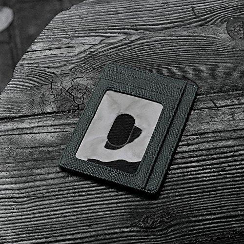 Slim Minimalist Leather Wallets for Men & Women - Cross Blackish Green by Buffway (Image #2)