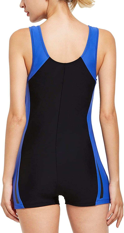 BALEAF Womens Athletic Boyleg Wide Straps One Piece Swimsuit Splicing Sports Swimwear