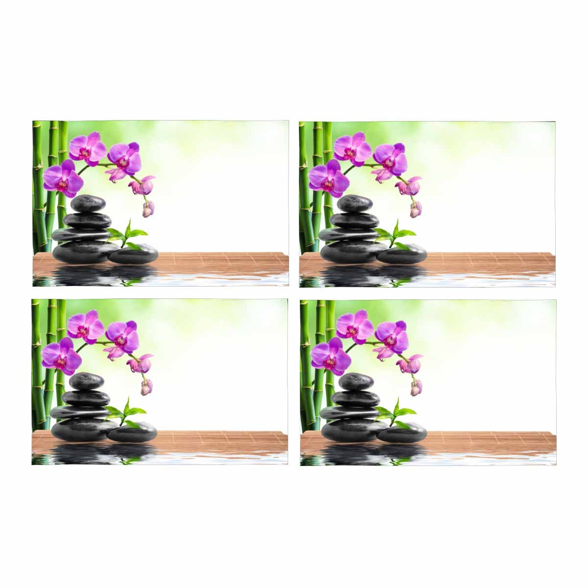InterestPrint Spa Bamboo Orchids Water Placemat Table Mats Set of 4, Heat Resistant Place Mat for Dining Table Restaurant Home Kitchen Decor 12''x18''