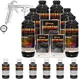 Custom Coat BLACK METALLIC 6 Liter Urethane Spray-On Truck Bed Liner Kit with (FREE) Custom Coat Spray Gun with Regulator