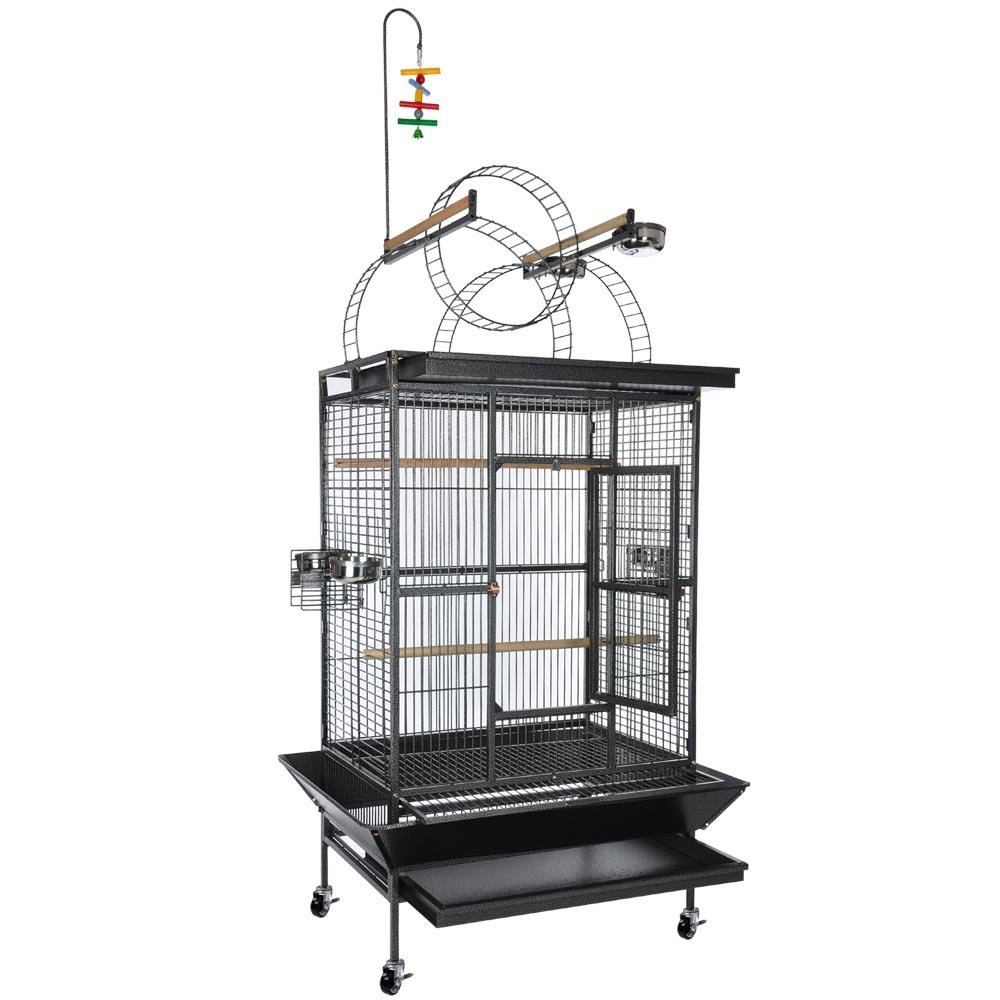 32 x 23 x 72 Inch Bird Parrot Cockatiel Pet Animal Non-Toxic Epoxy Cage Stand Round Ladder Play Top Black Vein Jacoble