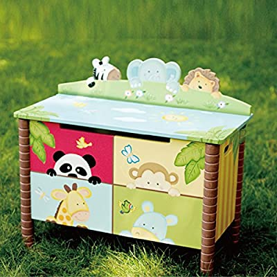 Fantasy Fields - Sunny Safari Animals Thematic Kids Sturdy Wooden Toy Chest with Safety Hinges - Imagination Inspiring Hand Crafted & Unique Details, Storage Chest, Blue / Green: Toys & Games