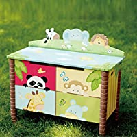 Fantasy Fields - Sunny Safari Animals Thematic Kids Sturdy Wooden Toy Chest with Safety Hinges - Imagination Inspiring Hand Crafted & Unique Details, Storage Chest, Blue / Green