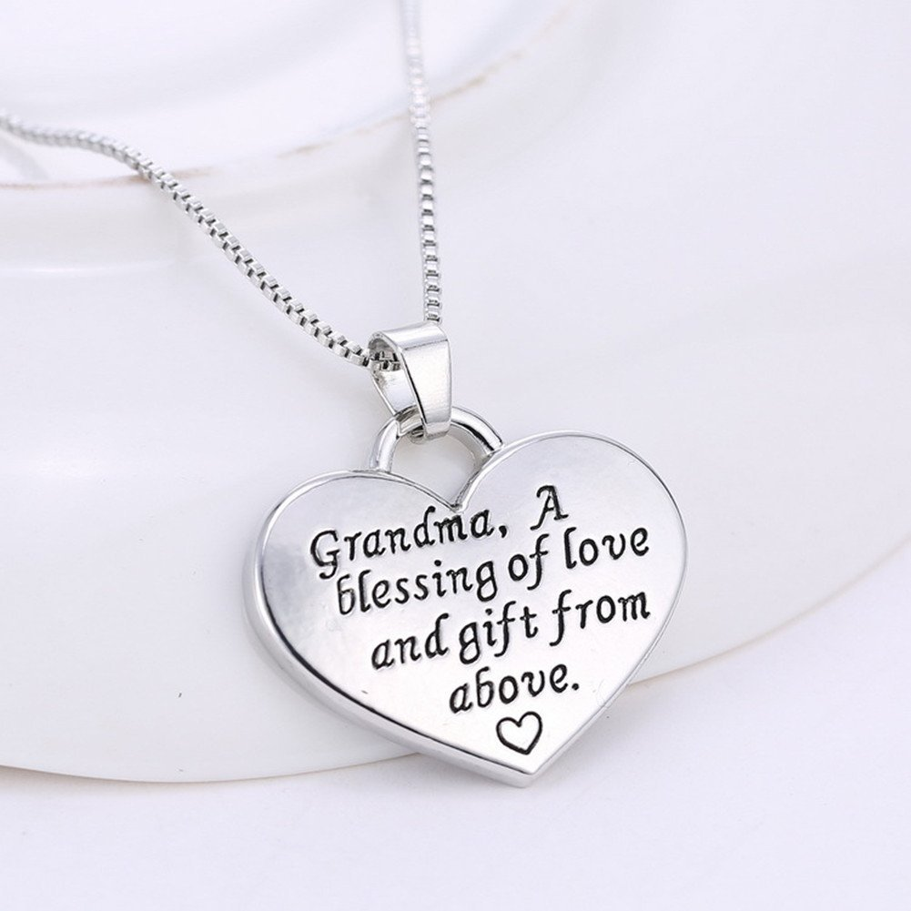 MagicW Gift for Grandma Heart Pendant Necklace Grandma A Blessing of Love and Gift from Above Grandma Charm Necklace from Granddaughter