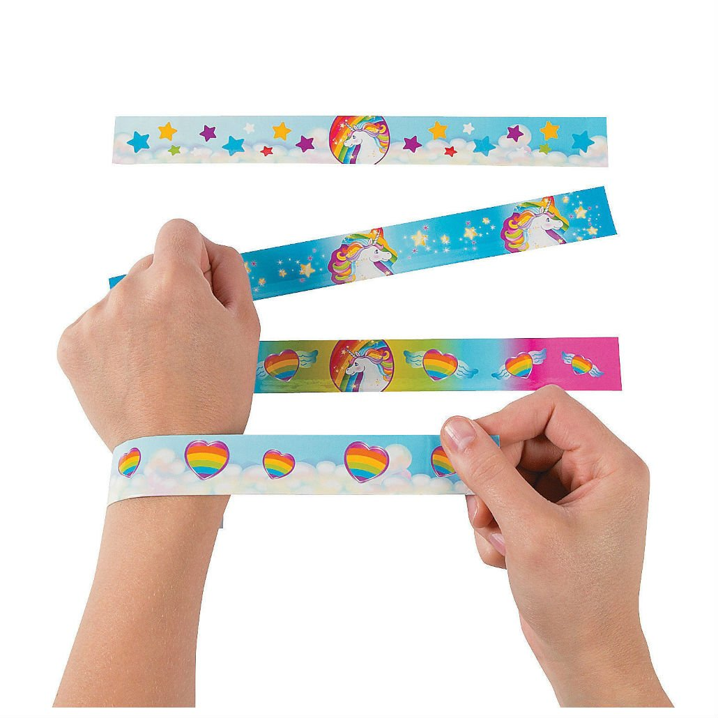 12 Birthday Everyday Party Favors UNICORN PONY RAINBOW Paper SLAP BRACELETS