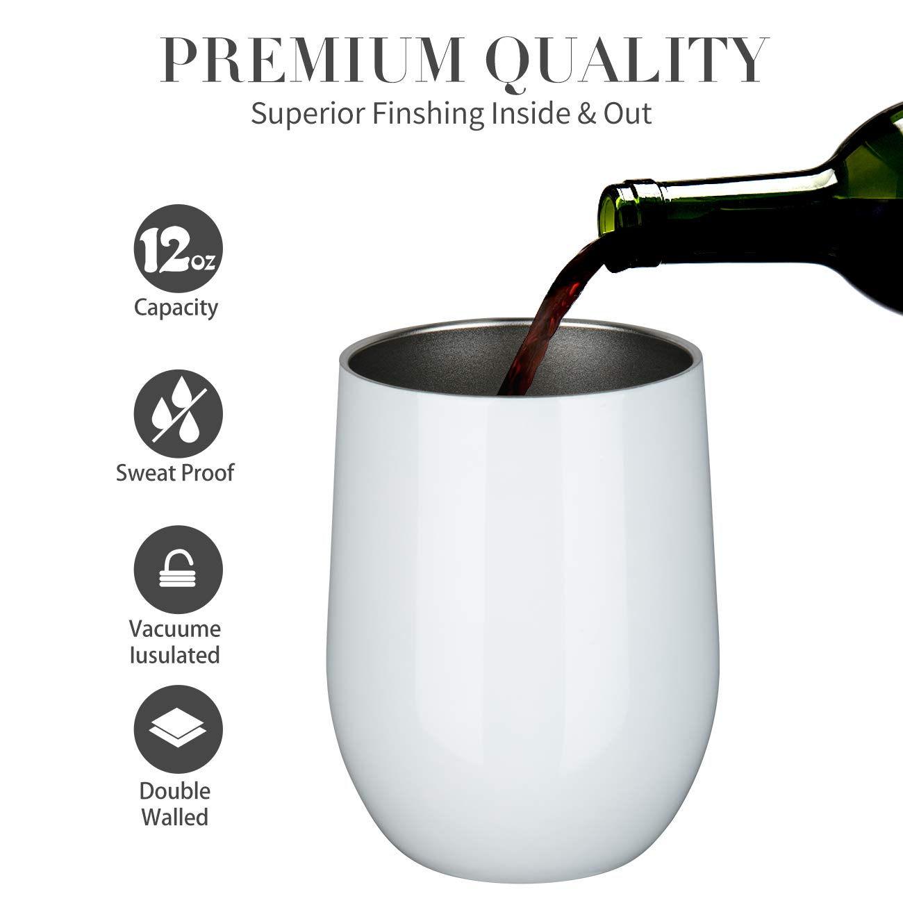Stainless Steel Stemless Wine Glass Tumbler with Lid, 12 oz | Double Wall Vacuum Insulated Travel Tumbler Cup for Coffee, Wine, Cocktails, Ice Cream - Wall Vaccum Insulation Thermos cup (White) by ONEB (Image #4)