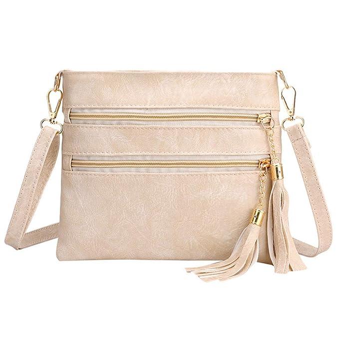 a149002465 Darringls Borsa a Tracolla Donna Elegante Borse a Spalla Moda Borse a Mano Donna  Borse Retro Casual Zipper Solid Color Tassel Shoulder Bags Messenger Bag:  ...