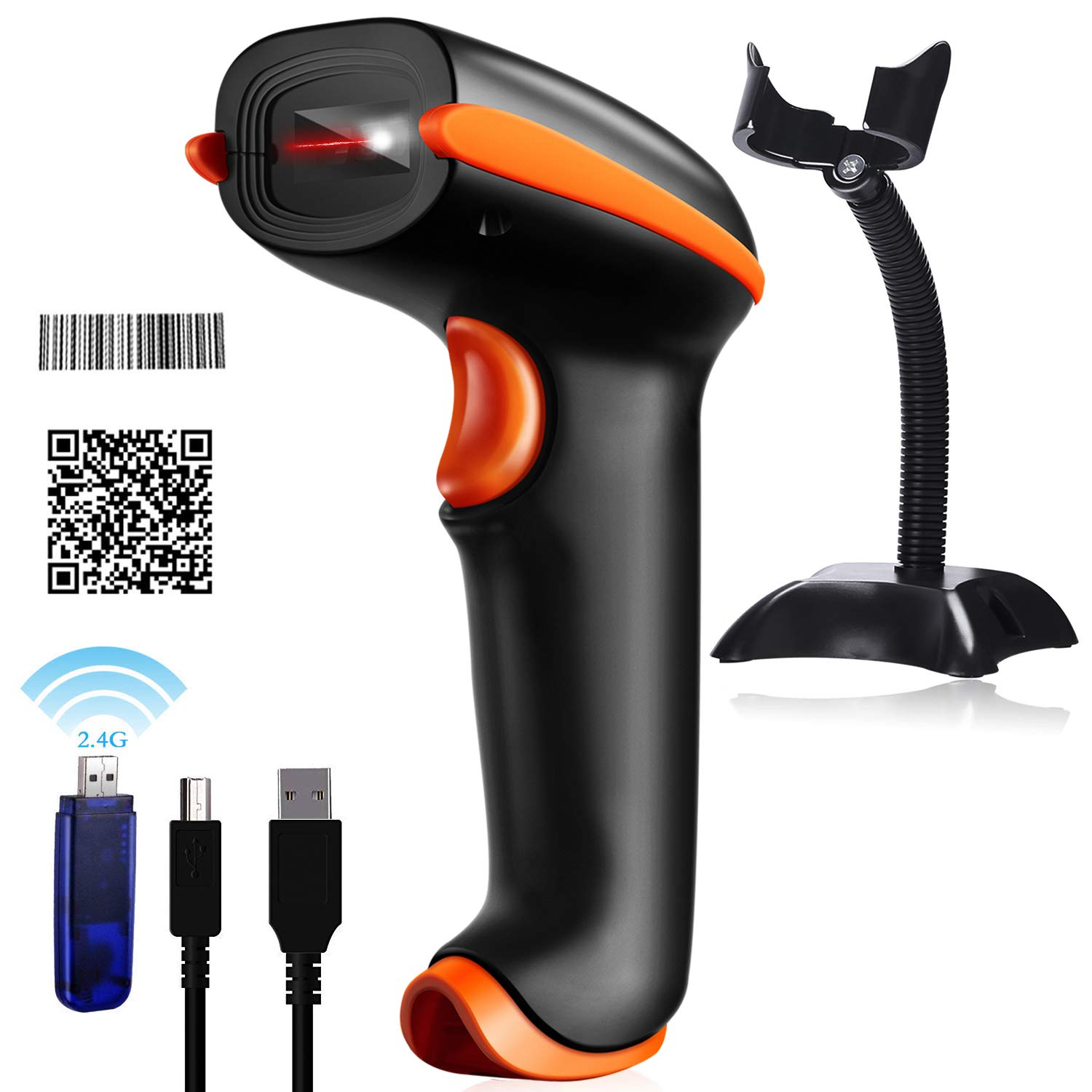 Tera Wireless Barcode Scanner 1D 2D with USB Cradle Charging Base Handheld Bar Code Reader Scanner Automatic Sensing Fast Precise Scanner US-EVHK0006-1
